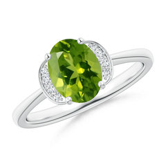Solitaire Oval Peridot and Diamond Collar Ring