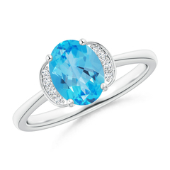 Solitaire Oval Swiss Blue Topaz and Diamond Collar Ring