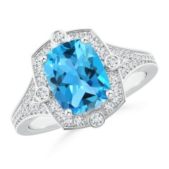 Art Deco Inspired Cushion Swiss Blue Topaz and Diamond Halo Ring