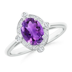 Deco Inspired Oval Amethyst and Diamond Halo Ring