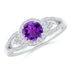 Split Shank Round Amethyst Halo Ring with Cluster Diamonds