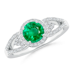 Split Shank Round Emerald Halo Ring with Cluster Diamonds