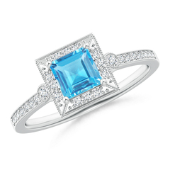 Milgrain-Edged Square Swiss Blue Topaz and Diamond Halo Ring