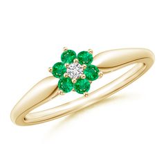Classic Six Petal Emerald and Diamond Flower Ring