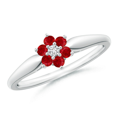 Classic Six Petal Ruby and Diamond Flower Ring