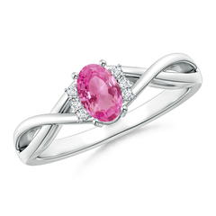 Oval Pink Sapphire Crossover Ring with Diamond Accents