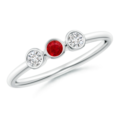 Classic Bezel Ruby and Diamond Three Stone Ring