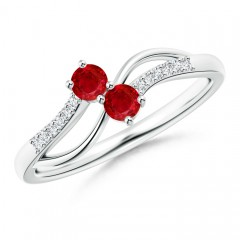 Split Shank Classic Two Stone Ruby Bypass Ring with Diamond Accent