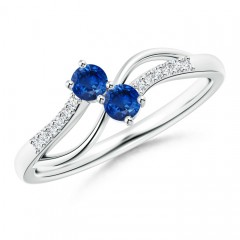 Split Shank Classic Two Stone Blue Sapphire Bypass Ring with Diamond Accent