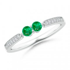 Vintage Inspired Two Stone Emerald Ring with Diamond Accents