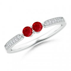 Vintage Inspired Two Stone Ruby Ring with Diamond Accents