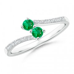 2 Stone Emerald Bypass Ring with Diamond Accent