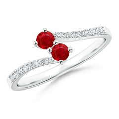 2 Stone Ruby Bypass Ring with Diamond Accent