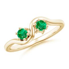 Round Two Stone Twist Emerald Ring