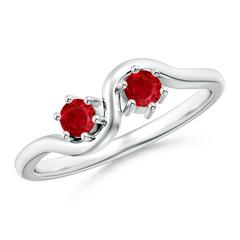Round Two Stone Twist Ruby Ring