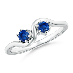 Round Two Stone Twist Blue Sapphire Ring
