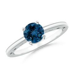 Prong Set Round London Blue Topaz Solitaire Ring