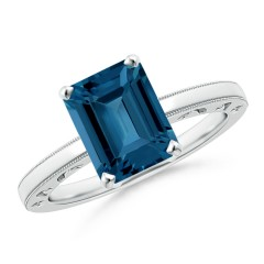 Emerald Cut London Blue Topaz Solitaire Ring