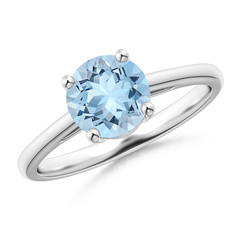 Classic Prong Set Round Aquamarine Solitaire Ring