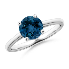 Classic Prong Set Round London Blue Topaz Solitaire Ring