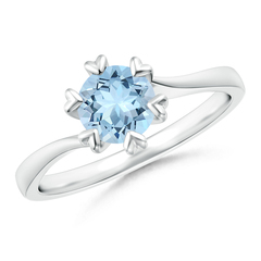 Heart shaped Prong Set Round Aquamarine Solitaire Ring