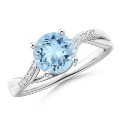 Round Aquamarine with Diamond Studded Infinity Twist Solitaire Ring