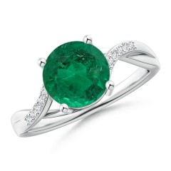 Emerald and Diamond Infinity Ring (GIA Certified Emerald)