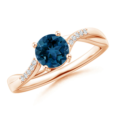 Round London Blue Topaz and Diamond Twisted Split Shank Ring