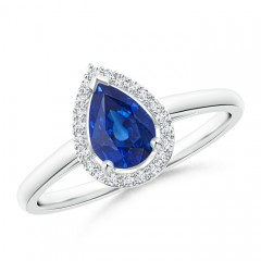 Diamond Halo Pear Shaped Blue Sapphire Cocktail Ring