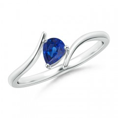Bypass Pear Shaped Blue Sapphire Ring with Prong Set