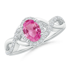 Oval Pink Sapphire Crossover Ring with Diamond Halo
