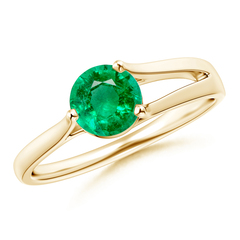 One Sided Split Shank Round Emerald Solitaire Ring