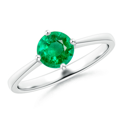 Tapered Shank Prong-Set Round Emerald Solitaire Ring