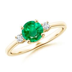 Prong-Set Round 3 Stone Emerald and Diamond Ring