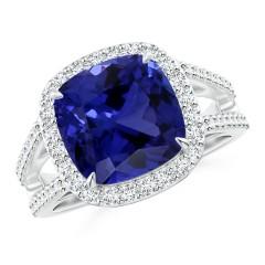 Split Shank Tanzanite Halo Ring (GIA Certified Tanzanite)