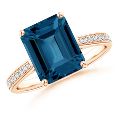 Emerald Cut London Blue Topaz Cocktail Ring with Diamonds