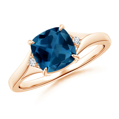 Cushion London Blue Topaz Ring with Diamond Accents