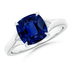 Solitaire Sapphire Split Shank Ring (GIA Certified Sapphire)