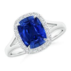 Split Shank Sapphire Halo Ring (GIA Certified Sapphire)