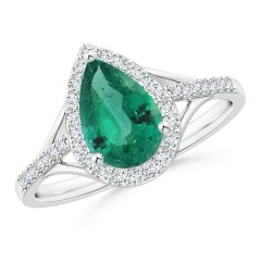 Pear Emerald and Diamond Halo Ring (GIA Certified Emerald)