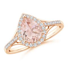 Prong-Set Pear Shaped Morganite Ring with Diamond Halo