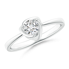 Rose Petal Flower Diamond Solitaire Ring in 3-Prong Setting