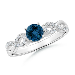 Round London Blue Topaz Infinity Ring with Diamonds