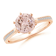 6-Prong Round Morganite Cathedral Engagement Ring with Pave Set Diamonds