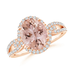Entwined Split Oval Morganite Halo Ring with Diamonds