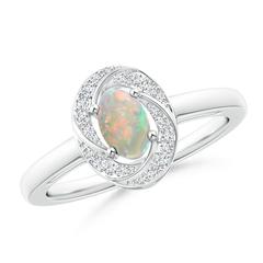 Classic Prong Set Opal Pinwheel Ring with Diamonds