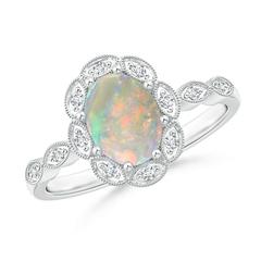 Oval Opal Halo Ring with Milgrain Diamonds