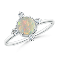 Solitaire Round Opal and Diamond Compass Ring
