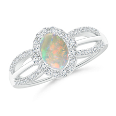 Floating Oval Opal Triple Split Shank Engagement Ring with Diamond Halo