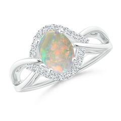 Oval Shaped Opal Entangled Split Shank Ring with Diamond Halo
